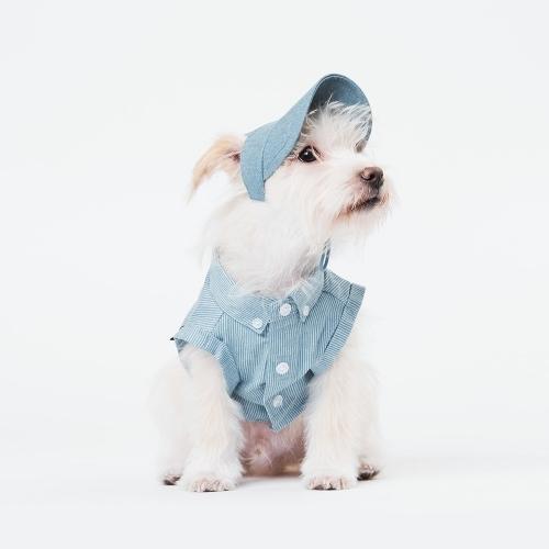 스니프 스트라이프 데님 타이백 크롭 셔츠 (라이트 블루)